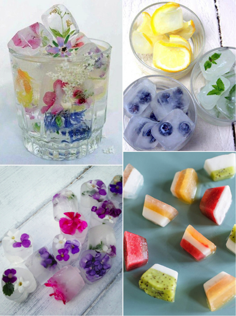 Image courtesy of (Wildflower ice cubes) marthastewart.com | (Berry ice cubes ) theculinarytribune.com | (Fruity ice cubes) typepad.com | (Floral ice cubes) image.ie