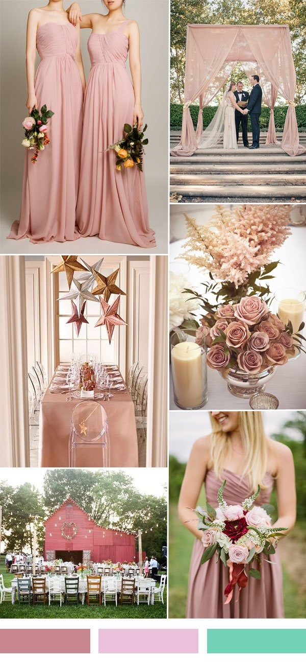 dusty-pink-sorbe-wedding-color-ideas-and-single-shoulder-bridesmaid-dresses