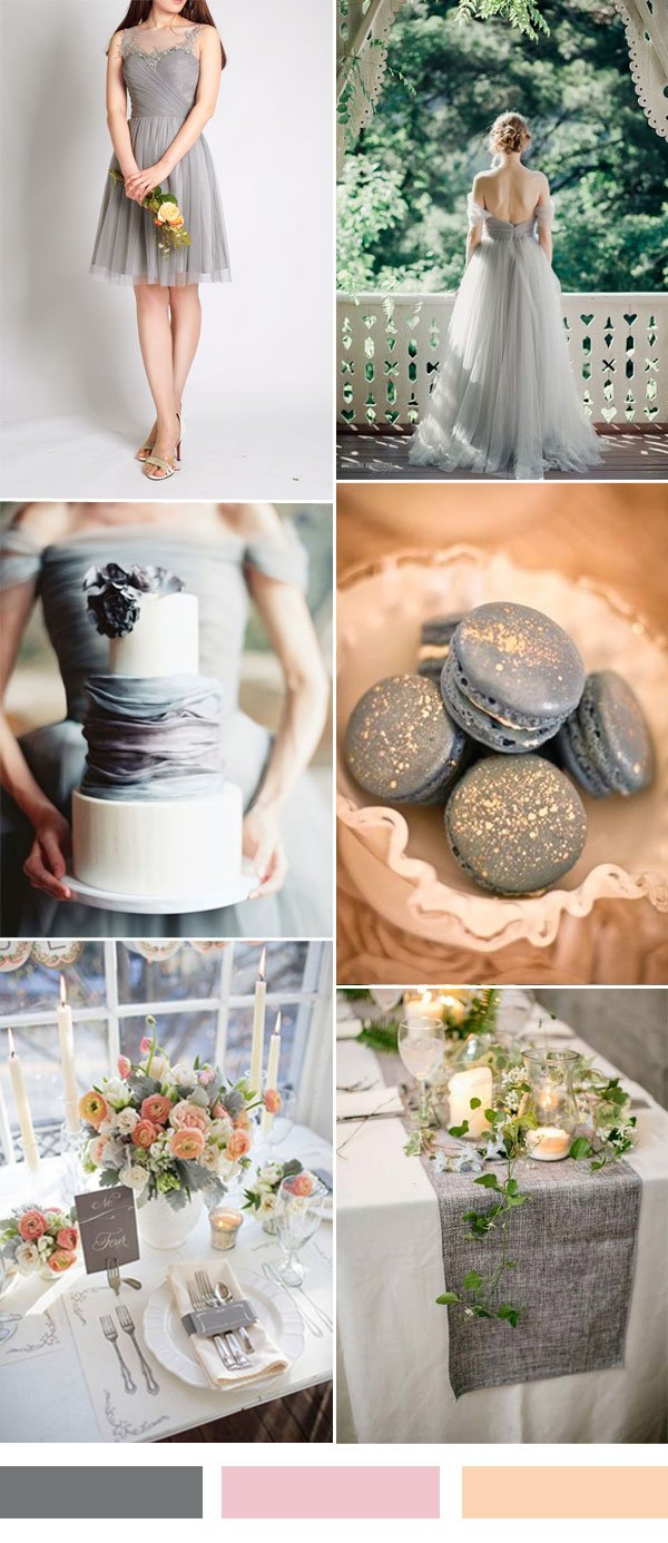 grey-wedding-color-ideas-and-tulle-bridesmaid-dress