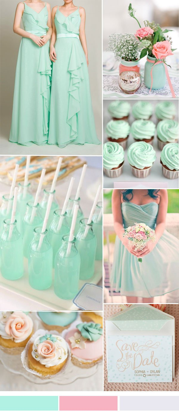 mint-and-pink-wedding-color-ideas-with-long-chiffon-bridesmaid-dress