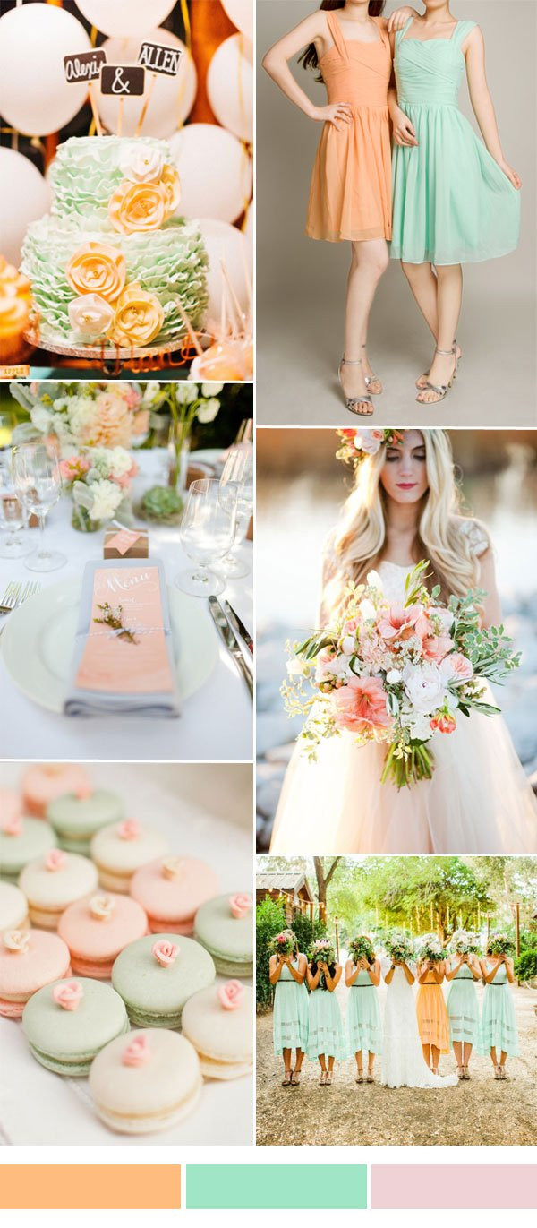 peach-and-mint-wedding-color-inspiration-with-short-bridesmaid-dresses