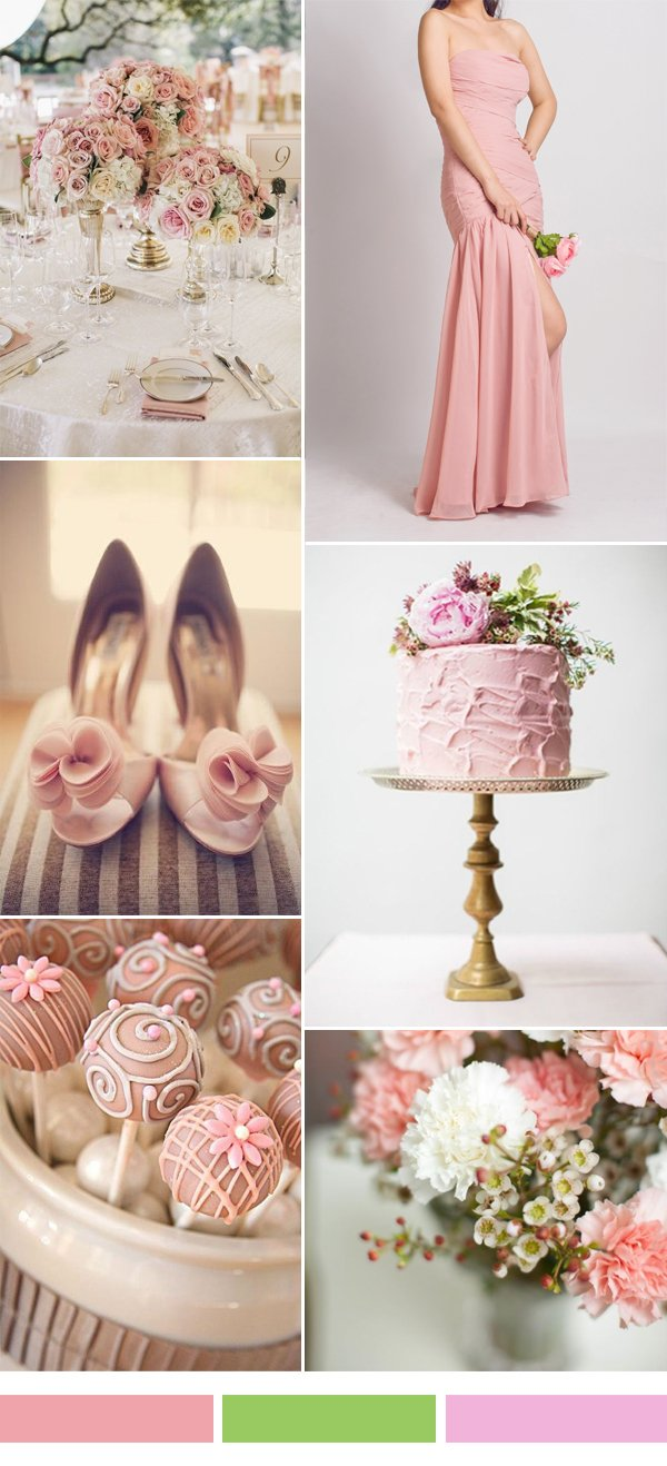 pink-sorbe-wedding-color-ideas-and-long-chiffon-bridesmaid-dress-2015-