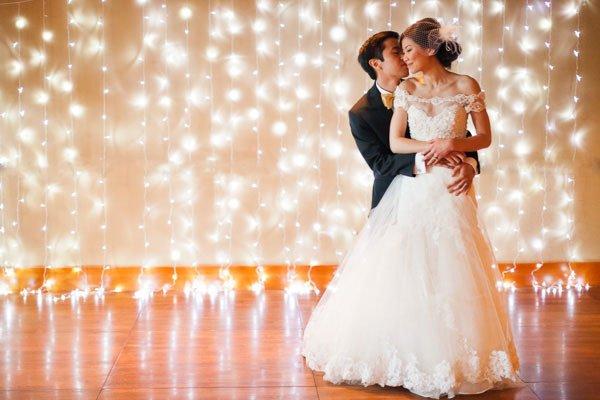 String Lights Backdrop - bridalguide.com